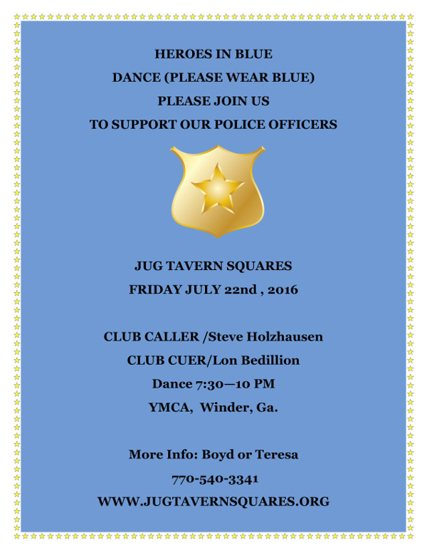 flyer for the Heroes-in-Blue dance
